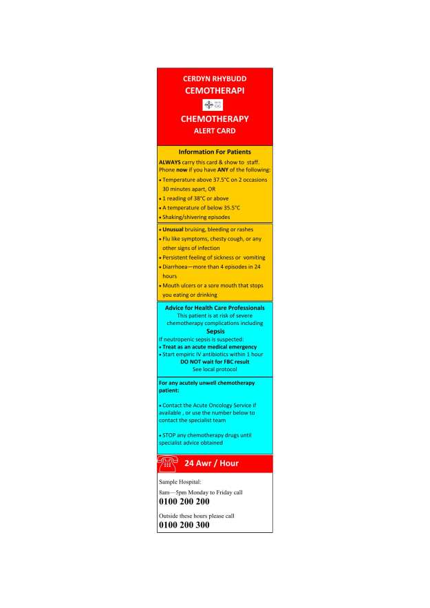 Chemotherapy Alert Card