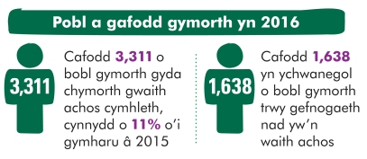 People supported in 2016 welsh